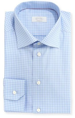 Eton Contemporary-Fit Check Dress Shirt, Light Blue/White $79 thestylecure.com