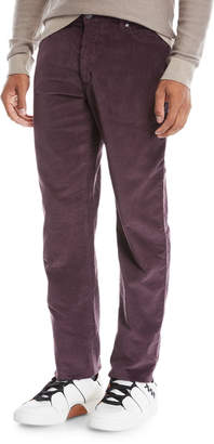 Ermenegildo Zegna Men's Wide-Wale Corduroy Pants Dark Red
