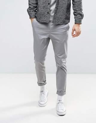 Asos Slim Chinos In Light Grey