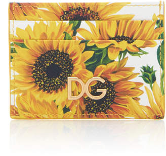 Dolce & Gabbana Floral-Print Textured-Leather Cardholder