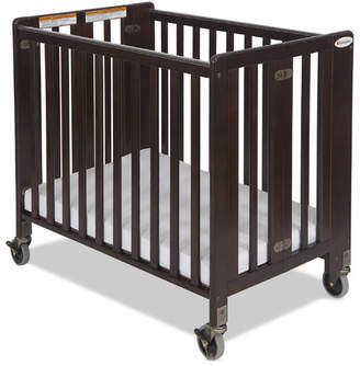 Foundations Hideaway Storable Wood Compact Crib with Mattress