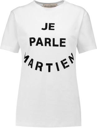 Etre Cecile Velvet-appliquéd cotton T-shirt