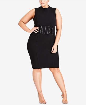 City Chic Trendy Plus Size Corset Bodycon Dress