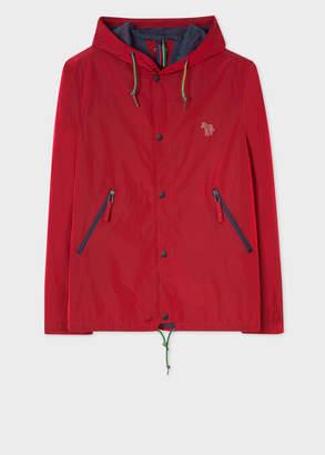 Paul Smith Men's Red Showerproof Hooded Coach Jacket With Zebra Logo