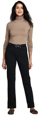 Lands' End Black Petite High Waisted Black Jeans, Straight Leg
