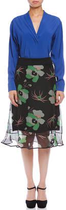 Marni (マルニ) - MARNI シルク アンダースカート付 シルク混 シアープリント スカート マルチ 38