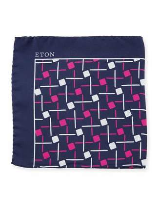 Eton Open Ground Geometric Silk Pocket Square, Purple