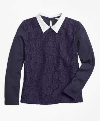 Brooks Brothers Girls Poplin Collared Lace Top