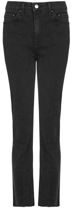 TopshopTopshop Moto washed black raw hem straight leg jeans