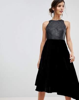 Coast Delores velvet pleated asymmetric dress