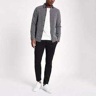 River Island Only and Sons grey jacquard long sleeve shirt
