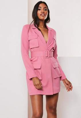 Missguided Pink Tailored Belted Utility Blazer Dress