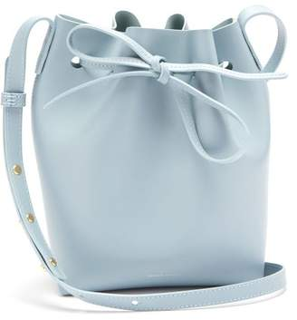 Mansur Gavriel Blue Lined Mini Leather Bucket Bag - Womens - Light Grey