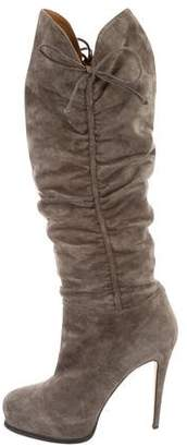 Brian Atwood Ruched Suede Knee-High Boots