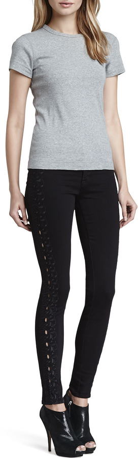 J Brand Jeans Helena Embroidered-Side Jeans