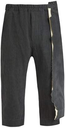 By Walid - Spliced Detail Linen Trousers - Mens - Grey
