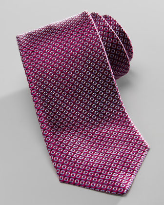 HUGO BOSS Diagonal-Square Silk Tie, Magenta