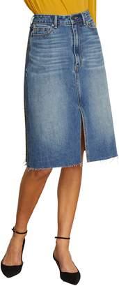 Habitual Yasmina High Rise Mix Media Denim Plaid Skirt
