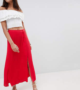 Asos Tall DESIGN Tall crinkle midi skirt with buttons and double split
