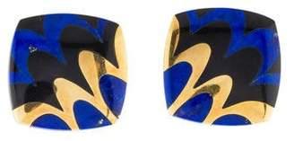 Tiffany & Co. 18K Lapis & Jade Inlay Clip-On Earrings