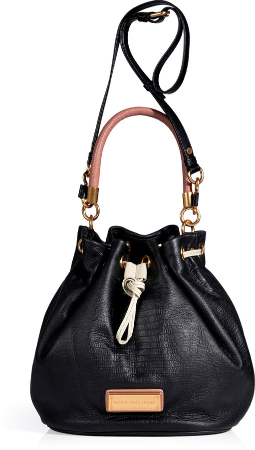 Marc by Marc Jacobs Black Multi Embossed Leather Too Hot To Handle Drawstring Bag