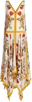 Alexander McQueen Floral-print rouleau-button sleeveless dress