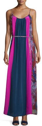 Ella Moss Celeste Mixed-Print Silk Maxi Dress, Berry $298 thestylecure.com