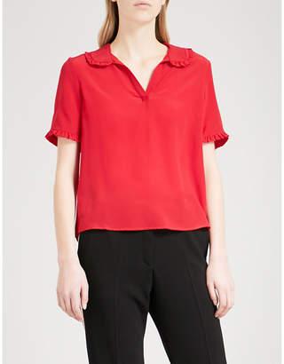 Claudie Pierlot Frilled-trim silk-crepe top