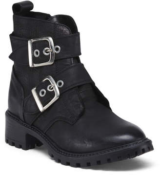 Made In Portugal Leather Booties With Silver Buckles