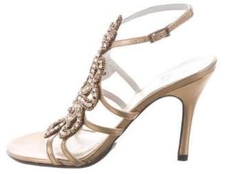 Stuart Weitzman Metallic Crystal-Embellished Sandals