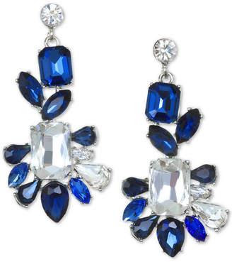 Badgley Mischka Silver-Tone Crystal & Stone Drop Earrings