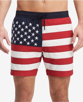 "Tommy Hilfiger Men's Flag 6.5"" Swim Trunks, Created for Macy's"