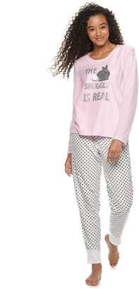 Couture Pj Juniors  PJ Microfleece Tee   Jogger Pajama Set 2bd69ff4b