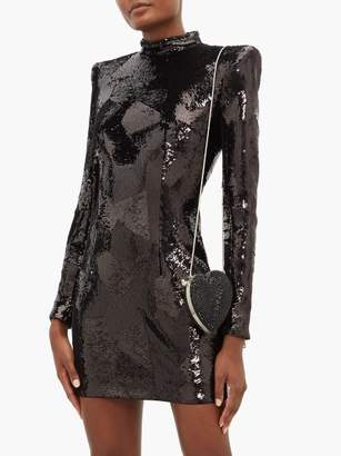 Balmain Exaggerated Shoulder Sequinned Mini Dress - Womens - Black