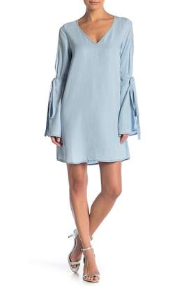 Naked Zebra Cold Shoulder Bell Sleeve Chambray Dress