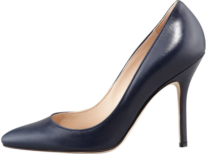 Manolo Blahnik Tuccio Sam Leather Pointed-Toe Pump, Navy