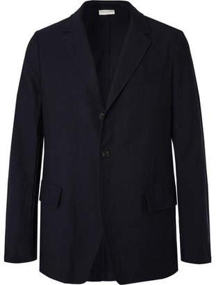 Dries Van Noten Navy Unstructured Pinstriped Cotton And Wool-Blend Blazer