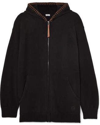 Loewe Oversized Leather-trimmed Knitted Cashmere Hoodie - Black