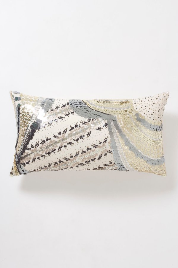 Anthropologie Sequined Fairisle Pillow, Large Rectangle