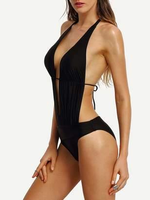 Shein Halter Cutout Plunging Monokini