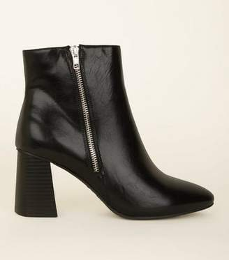 e6896d23228 New Look Wide Fit Black Pointed Block Flared Heel Ankle Boots