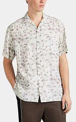 Lanvin Men's Shark-Head-Pattern Plain-Weave Bowling Shirt - Light Gray