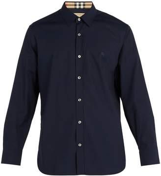 Burberry Logo-embroidered cotton-blend shirt