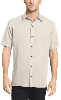 Van Heusen Poly Rayon Button Down Mens Short Sleeve Stripe Button-Front Shirt Big and Tall