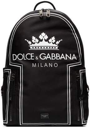 Dolce & Gabbana black and white crown logo print backpack