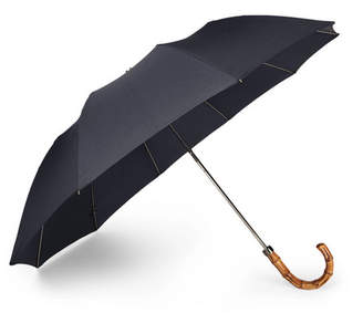 London Undercover Wood-Handle Telescopic Umbrella - Navy