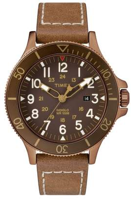 Timex R) Allied Leather Strap Watch, 43mm