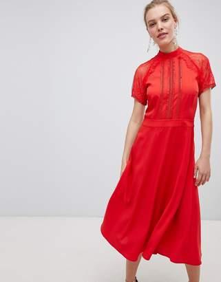 Liquorish a line lace detail midi dress