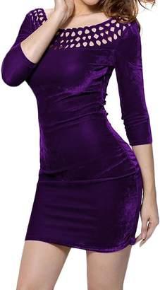 Fllay Women's Solid Color Crewneck Hollow Out Velvet Slim Party Mini Dress US S