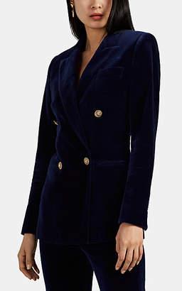 Maison di Prima Women's Cotton Velvet Double-Breasted Blazer - Blue